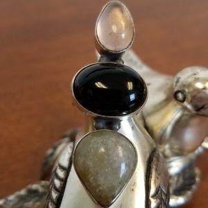 Onyx rose quartz sterling silver ring